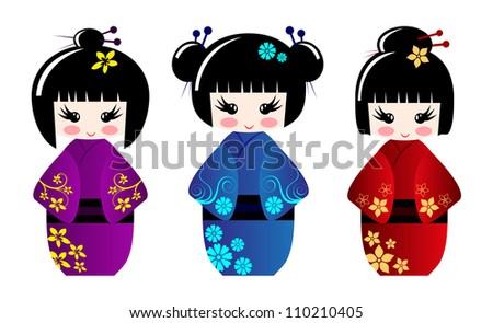Cute kokeshi dolls - stock vector