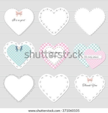 Cute lacy hearts set. Girly scrapbook design. Valentine's day stickers. - stock vector