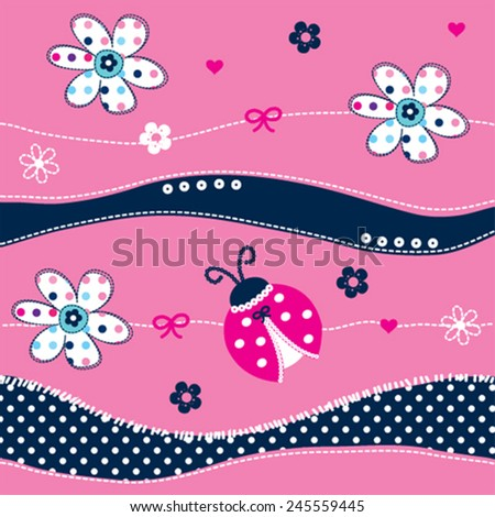cute ladybug with flowers vector illustration - stock vector