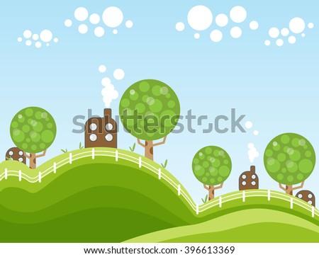 Sky Cow Landscape Stock Vector 182802482 Shutterstock