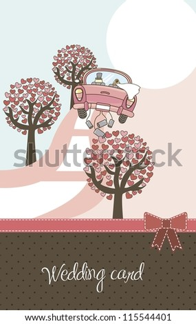 cute landscape with car and trees, wedding card. vector illustration - stock vector