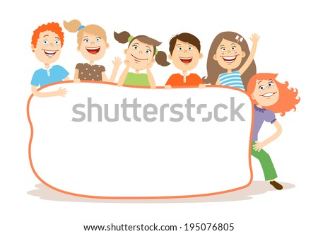 Cute laughing happy young kids around a blank white placard with copy space for your text or advertising  vector illustration on white - stock vector