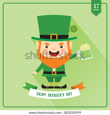 Cute Leprechaun celebrating Saint Patrick's Day with mug of green beer / Vector illustration. - stock vector