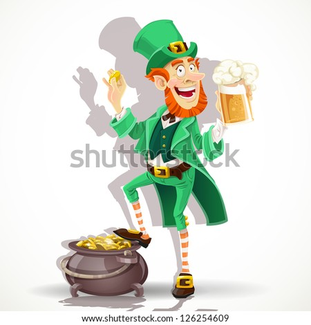 Cute Leprechaun drinking beer and protects pot of gold coins - stock vector
