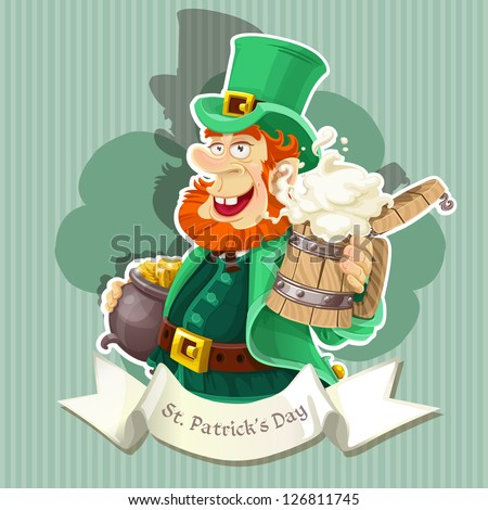 Cute Leprechaun with beer and pot of gold celebrating St Patrick's Day - Poster - stock vector