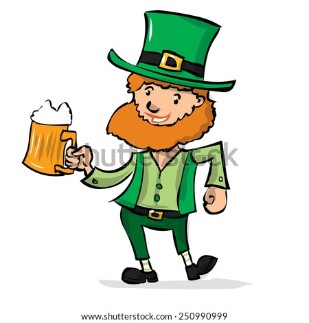 Cute leprechaun with beer celebrates St. Patrick's Day. Hand drawn cartoon illustration.
