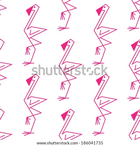 Cute line drawing of a pink flamingo background seamless pattern with a repeat motif in square format suitable for textile or background design - stock vector