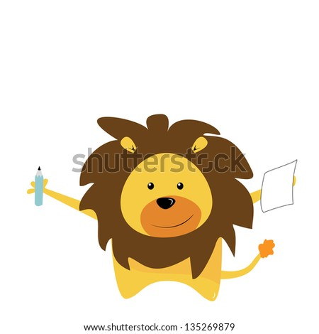 cute lion - stock vector