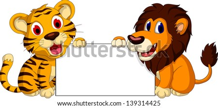 cute lion and tiger cartoon with blank sign - stock vector