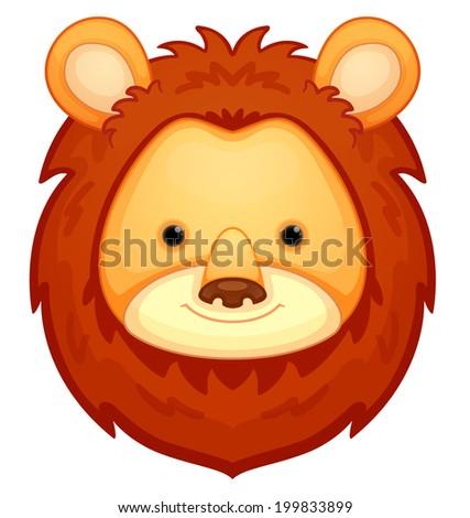 Cute Lion Head - stock vector