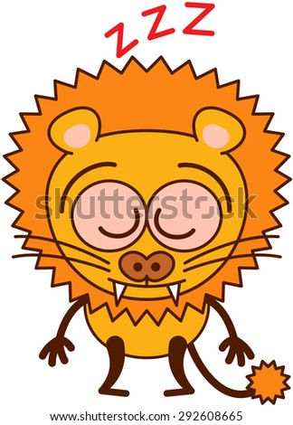 Cute lion in minimalistic style with rounded ears, sharp teeth, bulging eyes and long tufted tail sleeping placidly while standing up in a surprising and exhausted mood