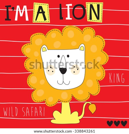 cute lion king vector illustration