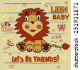 Cute Lion. Little Lion baby child's drawing by hand on a striped background with heart and butterflies - vector illustration - stock vector