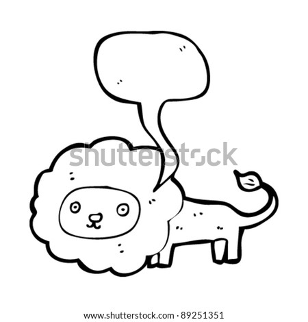 cute lion with speech bubble
