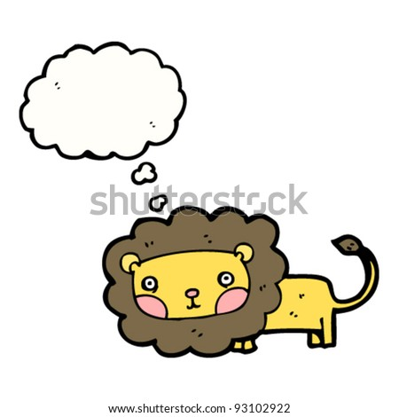 cute lion with thought bubble cartoon