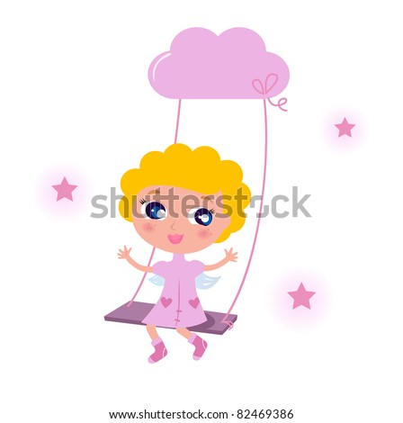 Cute little angel child isolated on white background Blond cute angel swinging on sky with stars. Vector cartoon illustration.