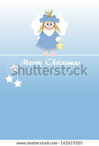 Cute little angel - Merry Christmas - stock vector