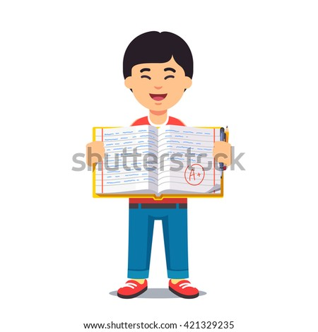 Cute little asian boy holding an open work book with handwriting. Flat style color modern vector illustration. - stock vector