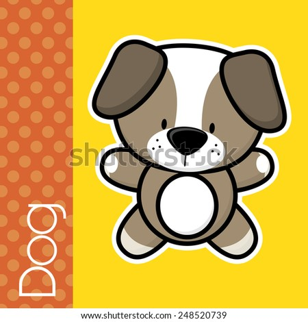 cute little baby dog and text in flat design on solid color background with black and white outline for easy isolation - stock vector