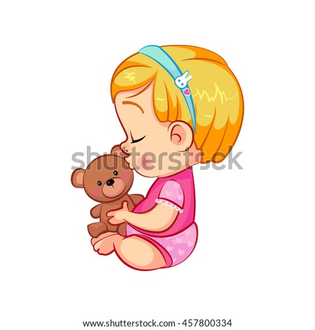 cute little baby girl kissing her teddy bear adorable sitting with closed eyes cartoon toddler - Toddler Cartoon Characters