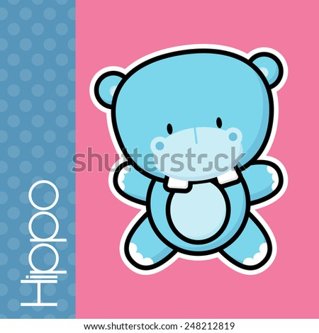 cute little baby hippo and text on solid color background with black and white outline for easy isolation - stock vector