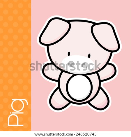 cute little baby pig and text in flat design on solid color background with black and white outline for easy isolation - stock vector