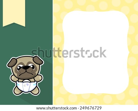 cute little baby pug with diaper, black and white outline like a sticker and blank space for your birth announcement text, picture or invitation with decorative frame - stock vector