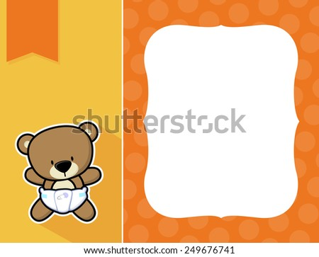cute little baby teddy bear with diaper and black and white outline like a sticker and blank space for your birth announcement text, picture or invitation with decorative frame - stock vector
