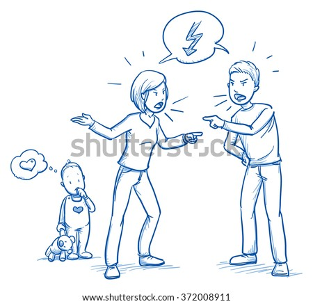 Cute little baby toddler loving his parents while they quarrel. Hand drawn cartoon doodle vector illustration. - stock vector