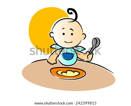 Cute little baby wearing a blue bib with a curl on top of its head sitting eating its food holding a spoon in its fist, vector illustration - stock vector
