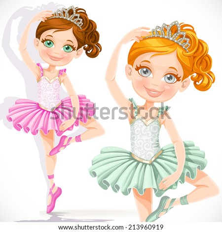 Cute little ballerina girl in pink and green tutu and tiara isolated on a white background - stock vector