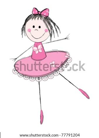 Cute little ballerina in pink dress - stock vector