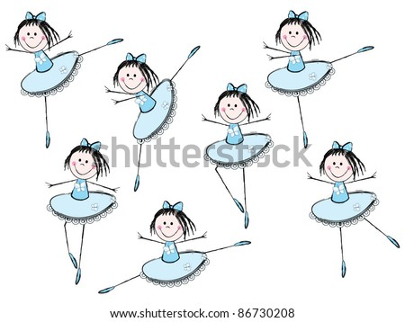 Cute little ballet girls - stock vector