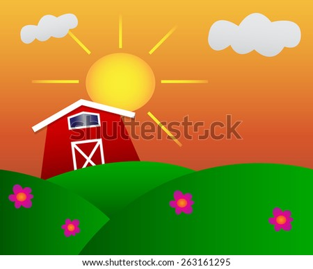 Cute little barn on meadow with sunset - stock vector