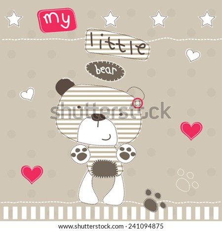 cute little bear with heart polka dot background vector illustration - stock vector