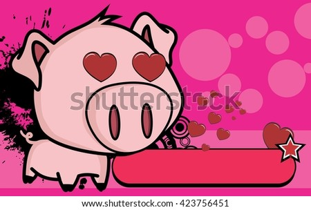 cute little big head pig cartoon background in vector format very easy to edit - stock vector