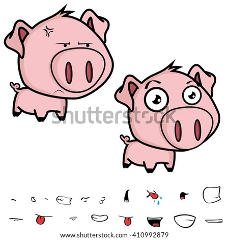 cute little big head pig cartoon set in vector format very easy to edit