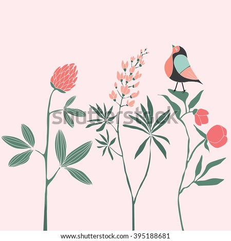 Cute little bird on flowers. Print Design - stock vector