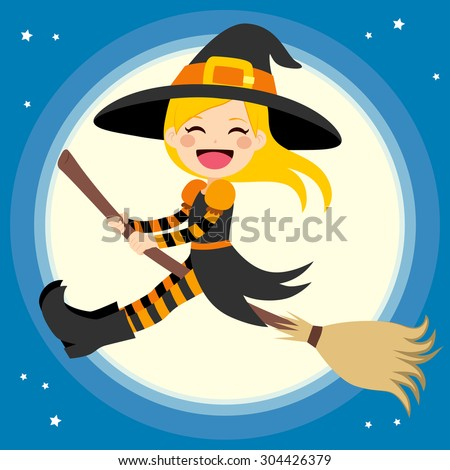 Cute little blonde girl witch flying in front of the full moon with magical broom - stock vector