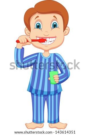 Cute little boy brushing teeth - stock vector