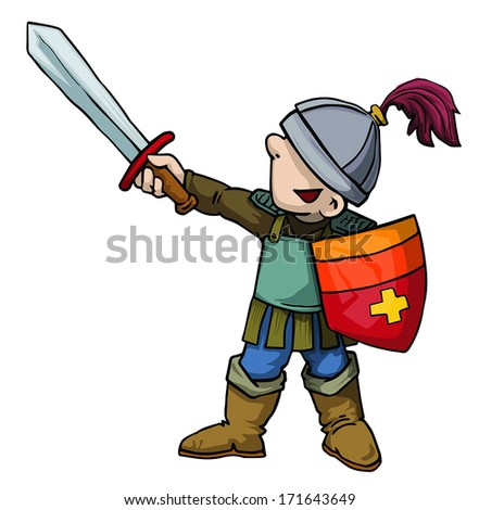 Cute Little boy/child in armor with a sword, vector illustration