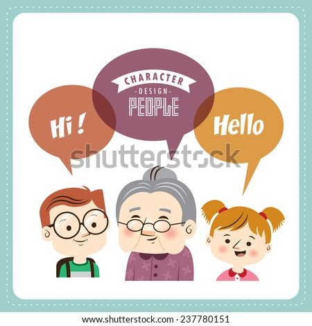 Cute little boy & girl with grandma  - stock vector
