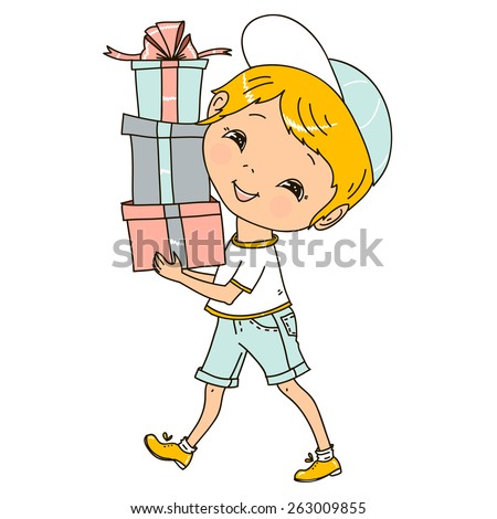 Cute little boy has a lot of gifts. Vector illustration.  - stock vector