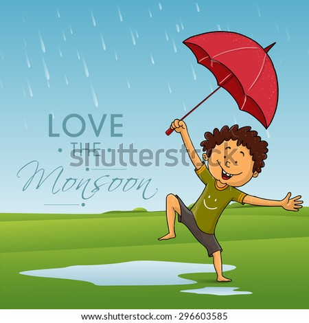Cute little boy holding an umbrella and dancing in rains on nature background for Monsoon Season. - stock vector