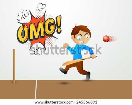 Cute little boy holding bat and running away from a red cricket ball with text OMG on pop art explosion.   - stock vector