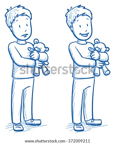 Cute little boy holding his bear in two emotions, happy and sad. Hand drawn cartoon doodle vector illustration. - stock vector