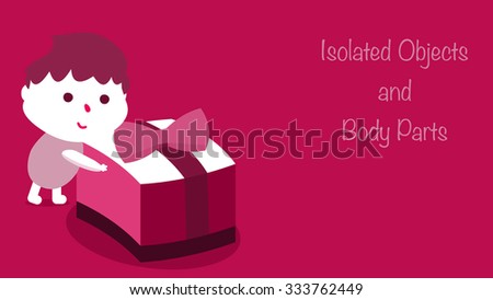Cute little boy kid holding a big present with ribbon decoration on top. Holidays greeting card graphic art. Unwrapping Christmas gift. All objects and body parts are isolated for your custom design. - stock vector