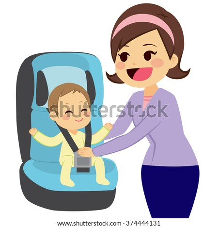 Cute little boy sitting on car baby seat with mother holding him while fasten safety belt - stock vector
