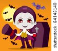 Cute little boy with Count Dracula vampire costume for Halloween night party - stock vector