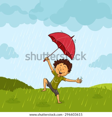Cute little boy with umbrella, dancing and enjoying in rains on nature background. - stock vector
